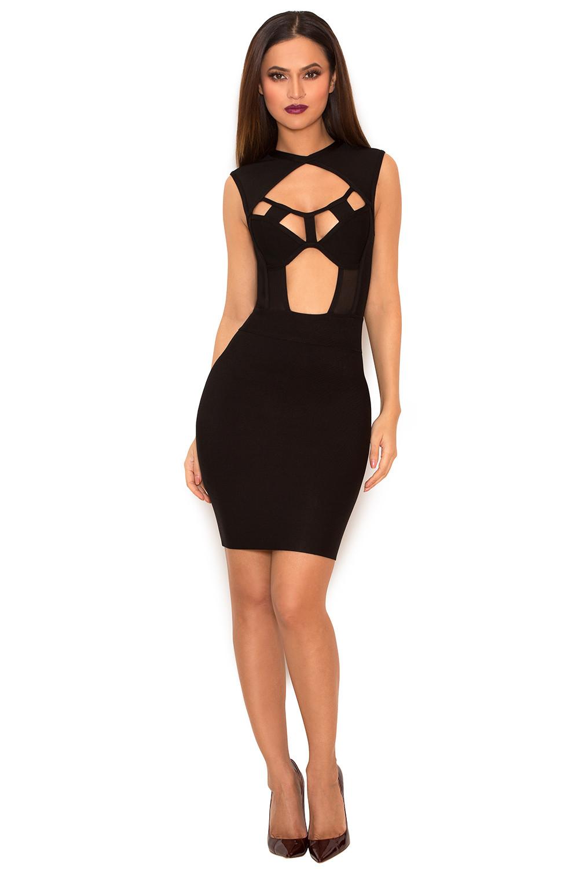 Clothing : Bandage Dresses : 'Aravena' Black Cut Out ...