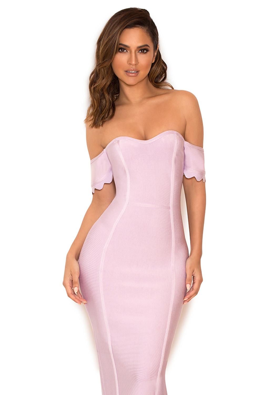 clothing bandage dresses 39 azahara 39 lilac off shoulder bandage dress. Black Bedroom Furniture Sets. Home Design Ideas