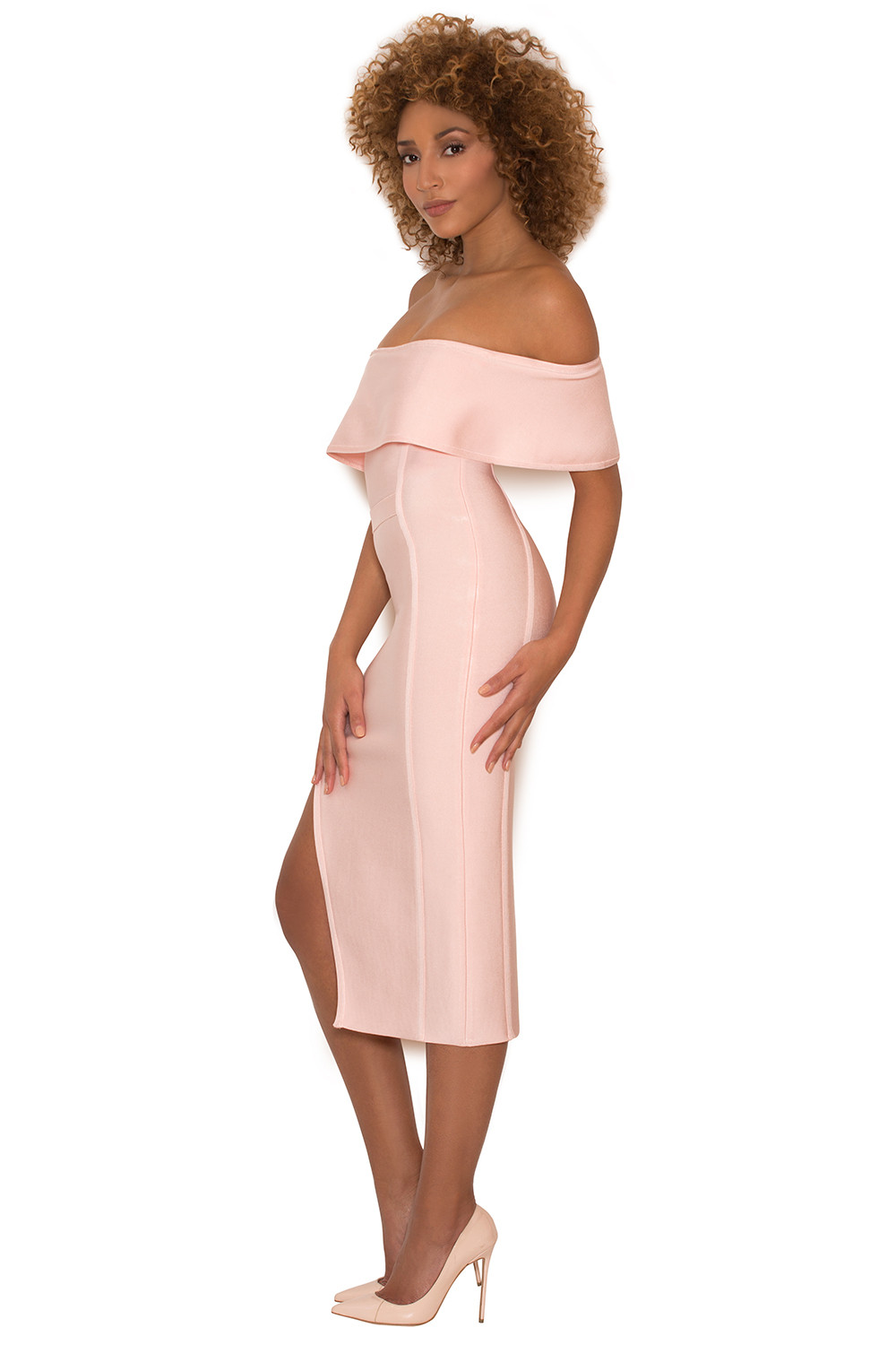 Clothing : Bandage Dresses : 'Danae' Light Pink Off the Shoulder ...