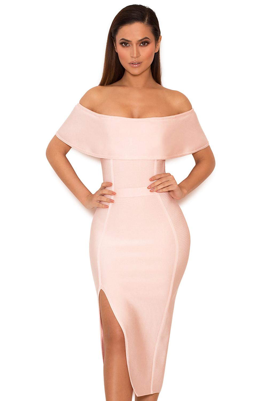Clothing : Bandage Dresses : 'Danae' Light Pink Off the Shoulder ...