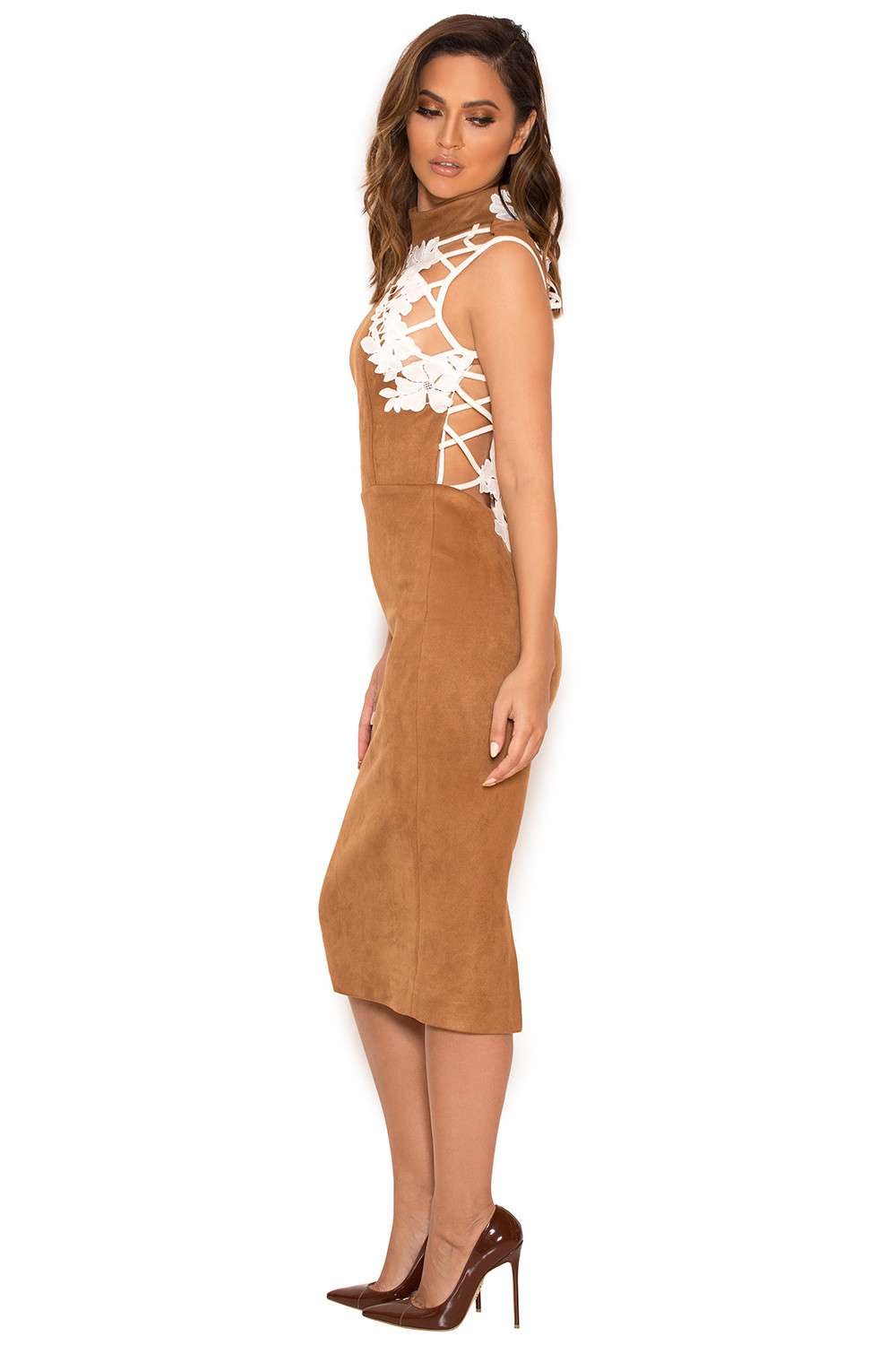 clothing bodycon dresses rayna tan suedette and lace