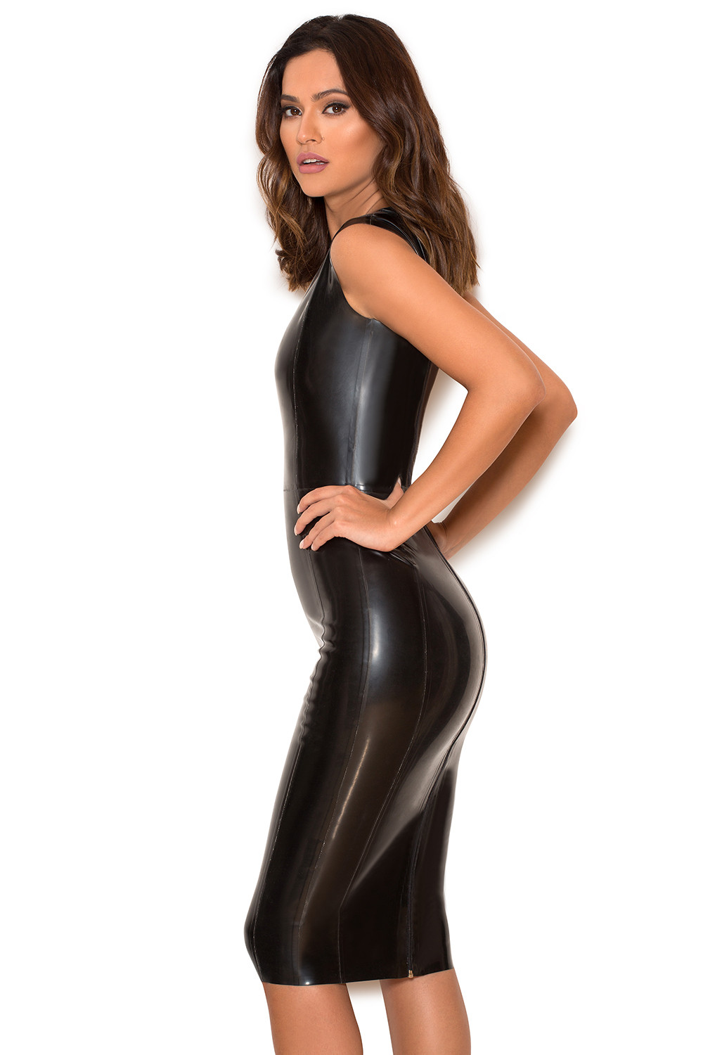 clothing bodycon dresses rivera black deep v latex dress