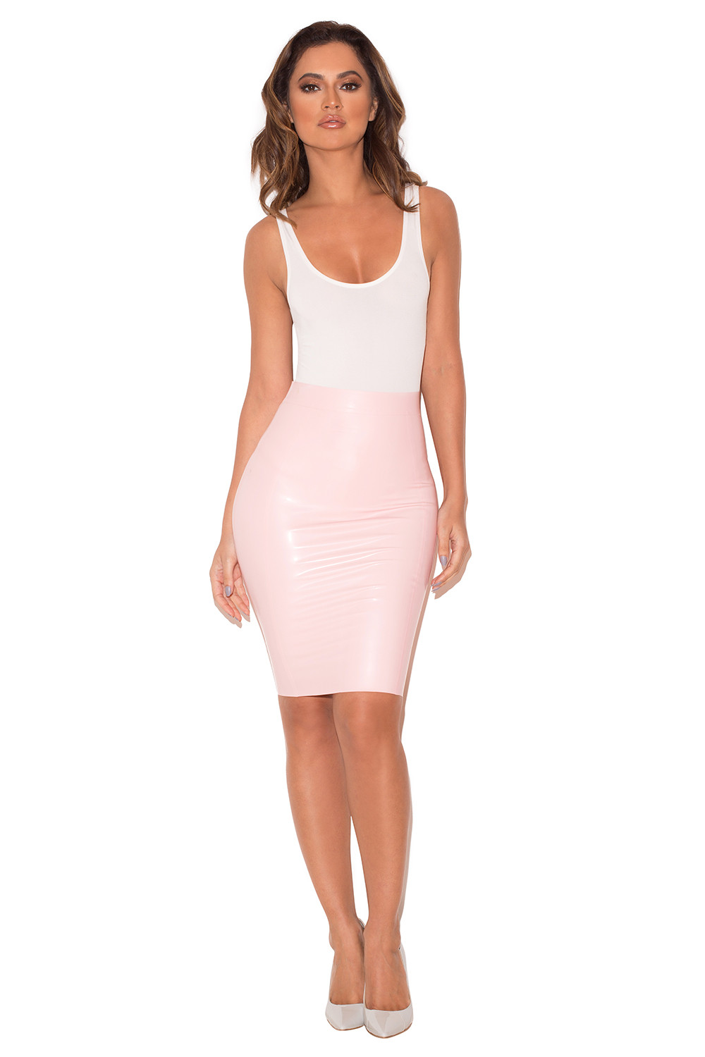 clothing skirts sofia baby pink pencil skirt