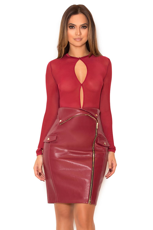 Clothing  Skirts  u0026#39;Siyannau0026#39; Wine Vegan Leather Mini Skirt