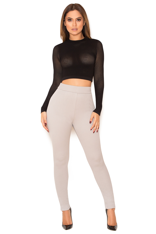 Clothing : Leggings : 'Derriere' Grey Rib Knit Leggings