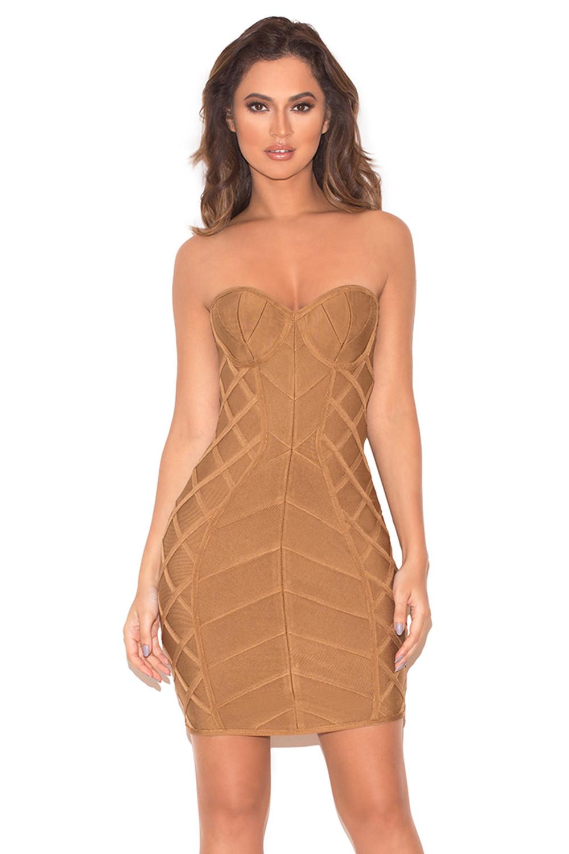 Clothing : Bandage Dresses : &39Naenia&39 Light Tan Strapless Bandage ...