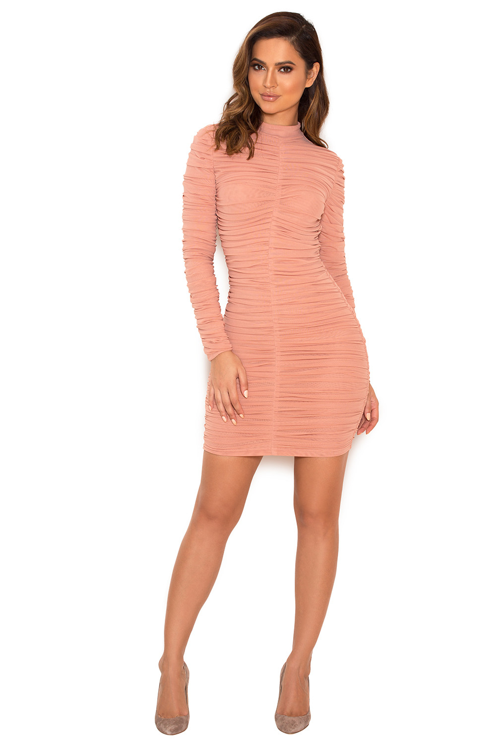 Clothing : Bodycon Dresses : 'Soleil' Dusty Pink Ruched Mesh ...