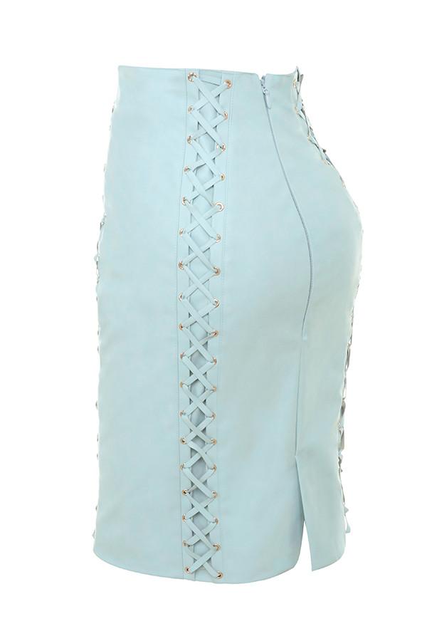 clothing skirts toriola powder blue vegan leather