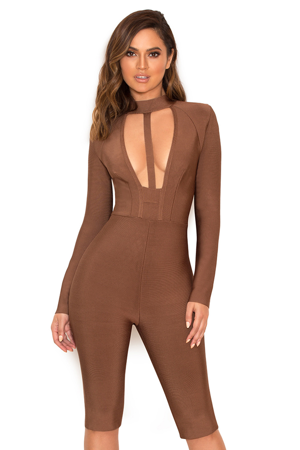 Clothing : Jumpsuits : 'Comelle' Brown Bandage Knee Length ...