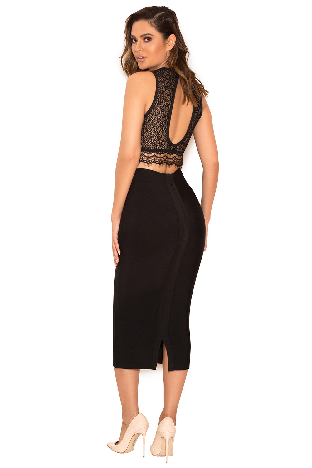 Clothing : Tops : 'Domina' Black Stretch Lace Cropped Top