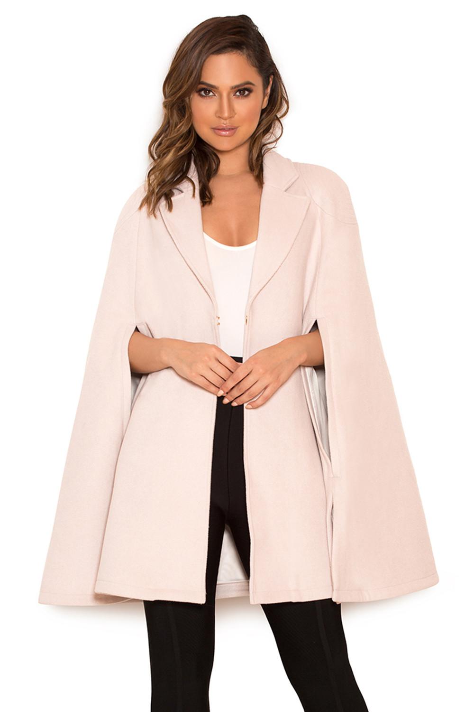 Clothing : Jackets : 'Marli' Cream Wool-Mix Cape Coat