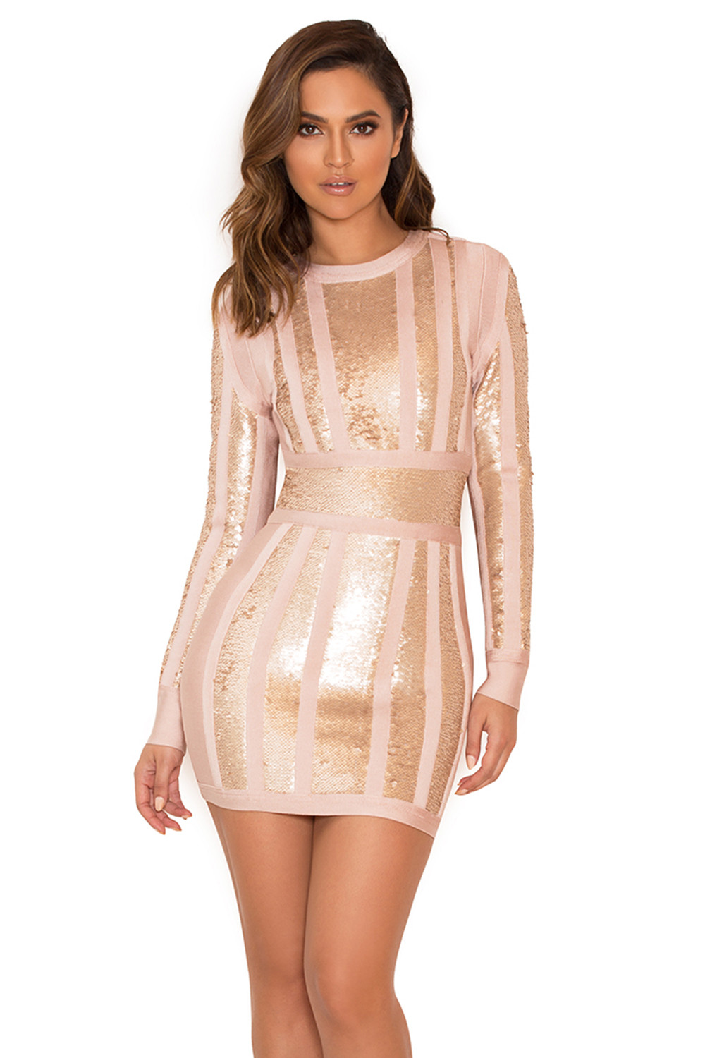 Clothing : Bandage Dresses : 'Massima' Pink & Gold Bandage ...