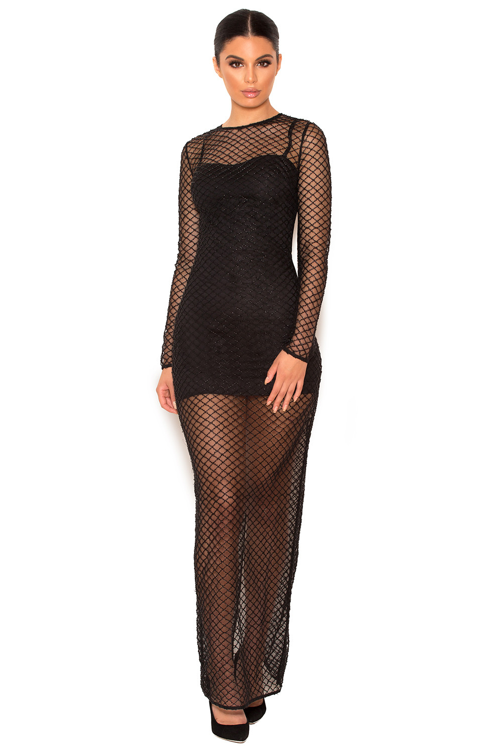 Clothing 2 pieces 39 nyla 39 black crystal encrusted for Fish net dress