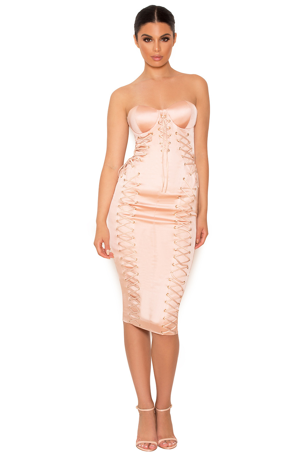 Clothing Bodycon Dresses Artimedes Nude Satin