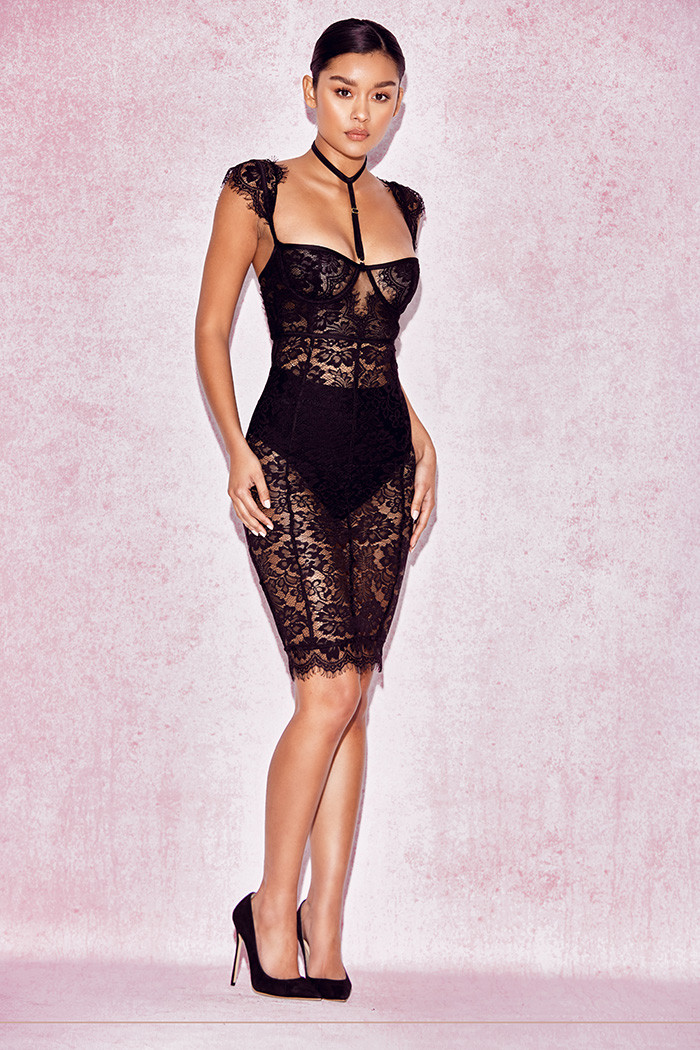 clothing bodycon dresses 39 hermosa 39 black lace collar. Black Bedroom Furniture Sets. Home Design Ideas