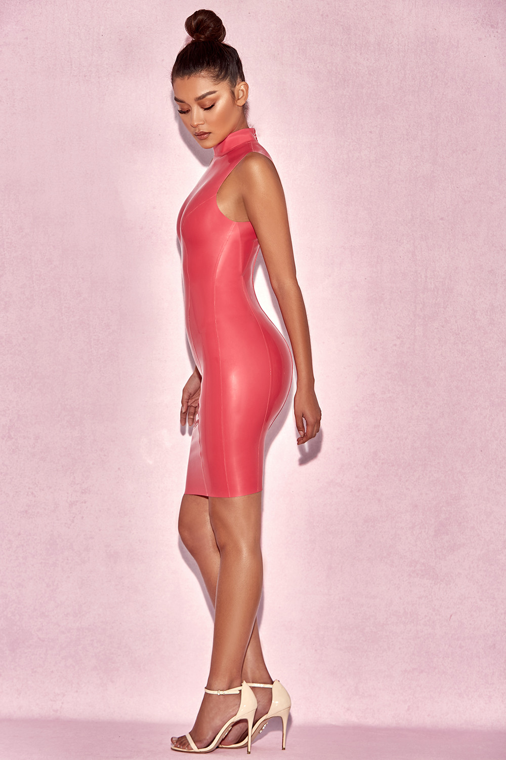 Clothing : Bodycon Dresses : 'Livana' Bubblegum Pink High Neck ...