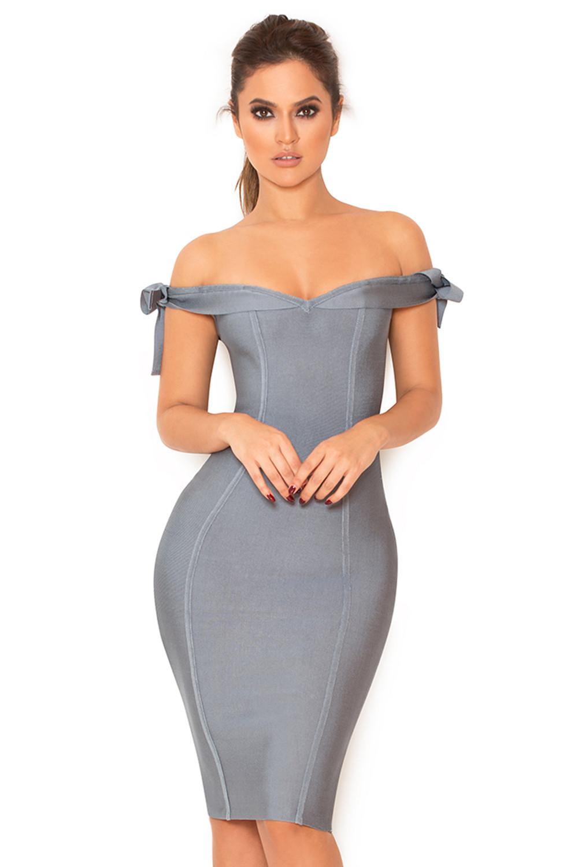 Clothing : Bandage Dresses : 'Solaine' Slate Grey Off Shoulder ...
