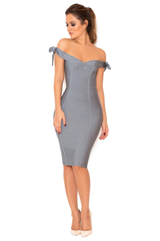 clothing bandage dresses 39 solaine 39 slate grey off. Black Bedroom Furniture Sets. Home Design Ideas