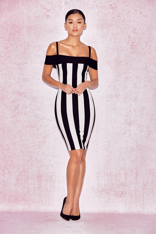 White Striped Bodycon Dress  WhiteBlack  Just 5