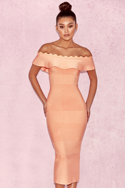 clothing bandage dresses 39 amadea 39 light orange fluted. Black Bedroom Furniture Sets. Home Design Ideas