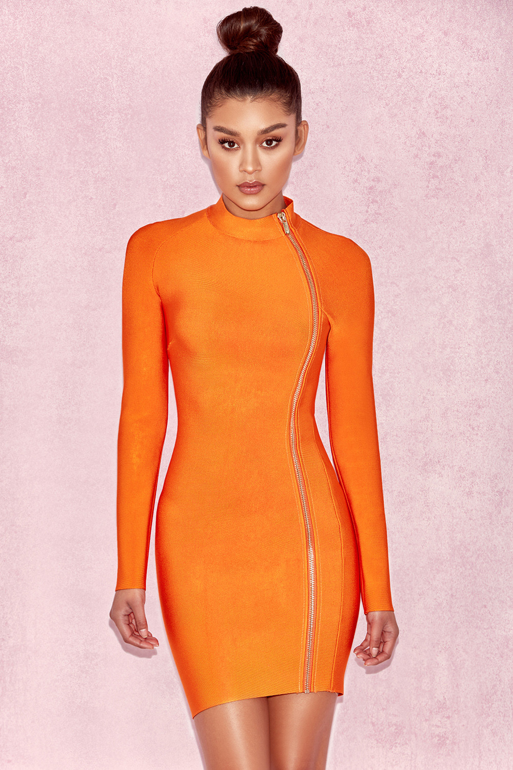 Clothing  Bandage Dresses  U0026#39;Elizau0026#39; Orange Bandage Curved Zip Mini Dress