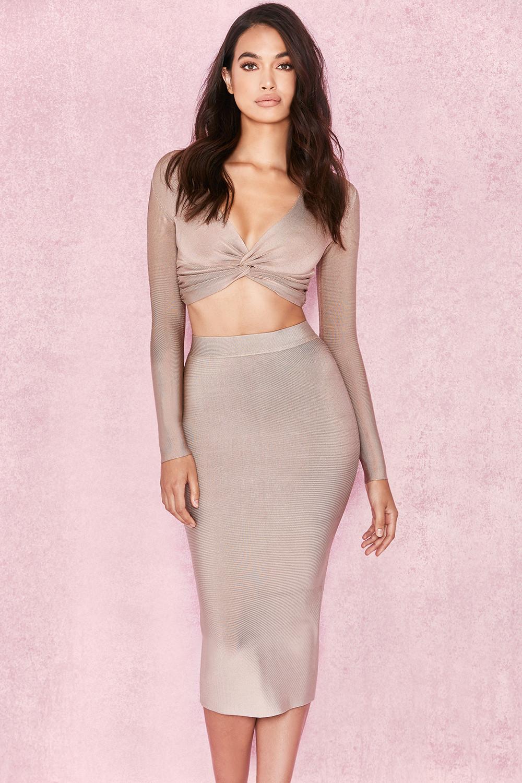 Clothing : Skirts : 'Giannelli' Beige Midi Length Bandage Skirt