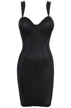 Mistress Black Satin Pencil Dress