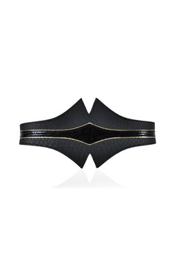 Hourglass Black Gold Leather Belt