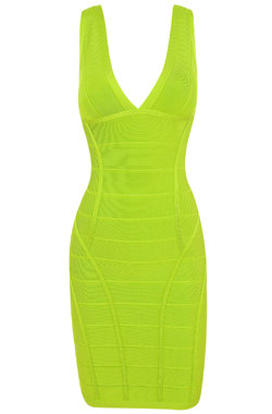 Jenna Neon Lime Green Bandage Dress