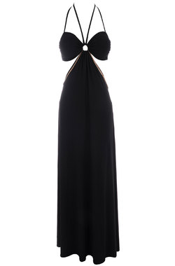 Amaris Black Jersey Maxi Dress