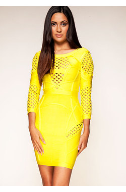 Selena Yellow Bandage Dress