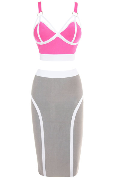 Paige Pink Grey Bandage Two Piece