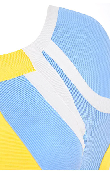 Sabina Yellow, Blue & White Bandage Dress