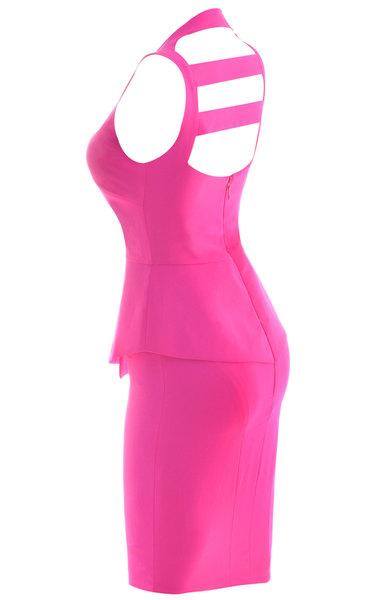 Ciara Neon Fuchsia Peplum Dress