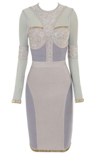 Samia Crystal Long Sleeve Bandage Dress