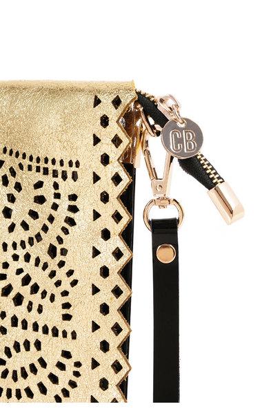 Night Rider Gold and Black Laser Cut Clutch Bag