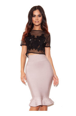Taupe Bandage Pencil Skirt with fluted hem.