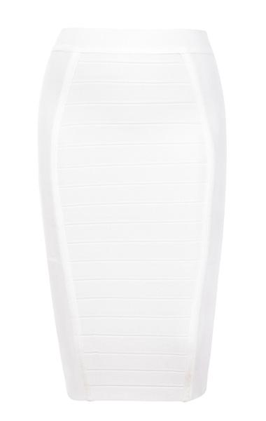 Sorcha White Knee Length Bandage Pencil Skirt