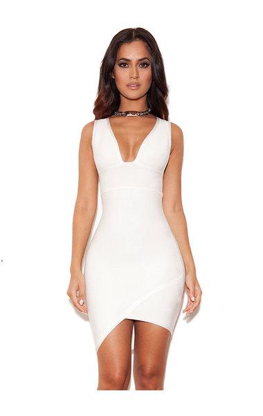 'Sacha' White Bandage Deep V Dress