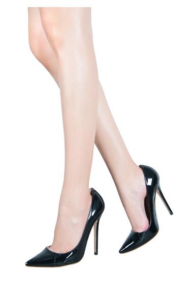 Paris Leather Black Pointed Toe High Heel Pump