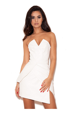 Adriana White Stretch Leatherette Short Origami Dress
