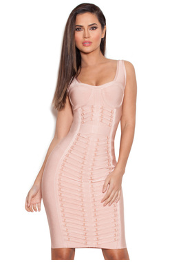 Anjali Nude Bandage Dress with Gold Details