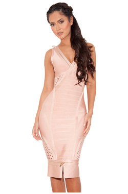 Katana Nude Bandage Dress with Oversized Zip Details