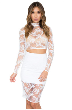 Mahalia White Stretch Lace Two Piece