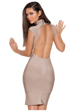 Pascale Taupe Backless Bandage Dress