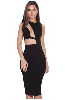 Romana Black Cut out BodyCon Dress