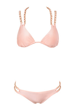 Samoa Peach Triangle Bikini with Chain Details