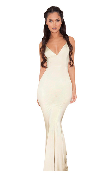 Cher Champagne Silky Jersey Strappy Maxi Dress