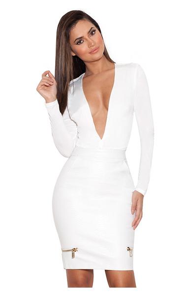 Lorenza White Silky Jersey Deep V Bodysuit