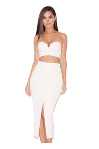 Caspiana Blush Crepe Bustier Two Piece